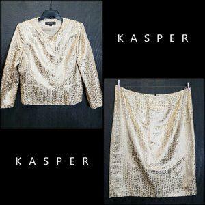 kasper Woman Top Blazer Blouse & Skirt 16 Nwot